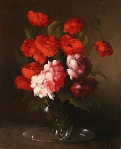 Clément-Théodule-Germain Ribot, Peonies and Poppies in a Glass Vase, 19th century