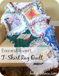 I can't believe I've put off making a t-shirt quilt for so long!  This rag quilt method is really easy to DIY and you don't even have to know how to quilt!  Perfect easy sewing project to save your precious memories / t-shirts!