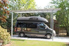 Carport aus Stahl feuerverzinkt für Wohnmobil Carport Garage, Carports, Van Camping, Kayak Fishing, Garages, Van Life, Motorhome, Kayaking, Outdoor Living