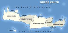Κρήτη Greece Travel, Crete, Geography, Map, Wall Art, Blog, Location Map, Greece Vacation, Maps