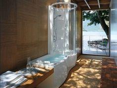 vasca da bagno idromassaggio rettangolare con doccia jtwin premium by jacuzzi europe design carlo