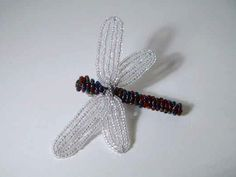 French Beaded Dragonfly Brooch