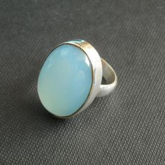 Aqua blue chalcedony ring - Oval stone ring - Sterling silver ring $50.00
