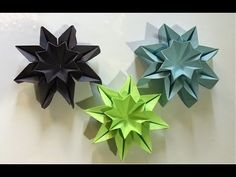 Origami STAR FLOWERS - wall decor - YouTube