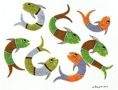 "Fish by Rajendra Kumar Shyam: art from forest-based Gond tribe in Central India expressing their communion with Nature. ""From the forest to the world via the Web"""