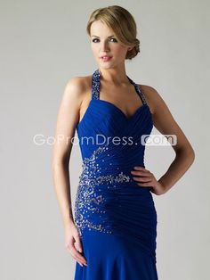 halter chiffon Applique long blue evening dress - gopromdres.com