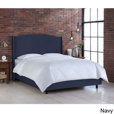 Nail Button Velvet Upholstered Wingback Bed- Skyline Furniture (California King, Velvet Navy), Blue