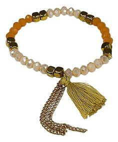 Look at this #zulilyfind! White Crystal & Goldtone Double-Tassel Stretch Bracelet #zulilyfinds