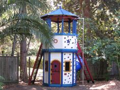 Barbara Butler-Extraordinary Play Structures for Kids-Octagon Tower: The Octagon Tower with Roof Kids Playhouse Plans, Kids Indoor Playhouse, Playhouse Kits, Build A Playhouse, Wooden Playhouse, Play Structures For Kids, Outdoor Play Structures, Cubby Houses, Play Houses