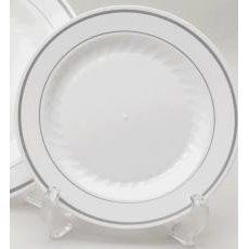 White Masterpiece Plates - 9 inch by WNA. $91.99. ELEGANT CHINA LOOK. DISPOSABLE. 12 PIECES PER PACK 10 PACKS PER CASE. HIGH QUALITY. DURABLE. Masterpiece Silver Collection Heavyweight, single service silver band plates Masterpiece provides a solution to the costly and labor intensive concerns of china, including breakage, transport and cleanup. Complete your table setting with the multiple color options available in Classicware dinnerware. Silver accents and delicate fluti...