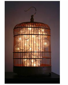 Already hanging in my lanai!!  Go wireless and use a string of LED lights to illuminate your newly repurposed vintage birdcage, like ZuZuPetals.  You can use rubber bands or clips to create the shape you desire for the light sculpture inside the birdcage... Cool idea for wedding birdcage card holder