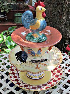 Rooster Garden Totem / Dessert Stand / by GardenWhimsiesByMary, $50.00