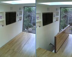 Power operated timber clad floor hatch, providing an 'invisible' staircase cover. 3m by 1.1m