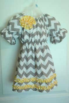 Gray and Yellow Chevron Toddler Peasant by GigglesnWigglesBtq, $34.50