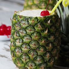 Pina Colada In A Pineapple. You can make it if you want a non alcoholic one take out the rum it works