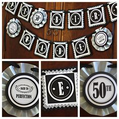 Masculine Happy Birthday Banner. Vintage / Black / Silver. 30th, 40th, 50th, 60th. Fully Assembled and customizable. by CharmingTouchParties on Etsy