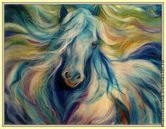 Wool painting of a horse Fleece Crafts, Felt Crafts, Felt Wall Hanging, Felt Pictures, Needle Felting Tutorials, Coloring Book Art, Wool Art, Felt Decorations, Nuno Felting