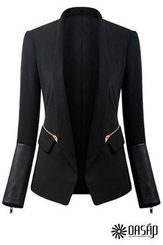 Basic PU Paneled Slim Blazer - OASAP.com
