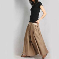 Silky linen Long Skirt - by idea2lifestyle