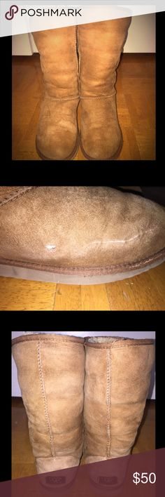 Tall Chestnut Uggs Size 8 Tall chestnut uggs. Size 8 but they stretch so could fit a size 9 or 10. Small rip on side, please see pics. UGG Shoes Winter & Rain Boots