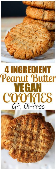 Vegan, gluten-free, oil-free peanut butter cookies with just 4 ingredients. Made with almond flour and maple syrup - Delicious Vegan Recipes Vegan Peanut Butter Cookies, Cookies Vegan, Cookies Kids, Peanut Cookies, Super Cookies, Baking Cookies, Vegan Treats, Vegan Foods, Whole Food Recipes