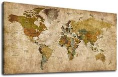 Canvas Wall Art Antique World Map Painting Picture Vintage Map of The World Canvas Artwork Prints for Office Wall Decor Home Living Room Decorations Framed Ready to Hang 20 x 40 World Map Painting, World Map Canvas, World Map Wall Art, Modern Framed Art, Large Framed Wall Art, Canvas Artwork, Artwork Prints, Wall Canvas, Painting Canvas