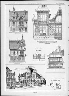 Villas, cottages and country houses / drawings of architectural monuments, buildings and objects - a visual history of architecture and styles (1000×1390)