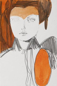 "Raban IV, From the series The Berlin Girls, TINA BERNING, Pencil, Ink, 6"" x 4"""