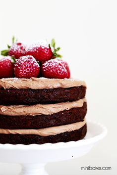 Chocolate Strawberry Cake with Nutella Buttercream