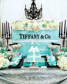 Wow! Check out this gorgeous Tiffany inspired Bridal Shower!! So beautiful! See more party ideas and share yours at CatchMyParty.com