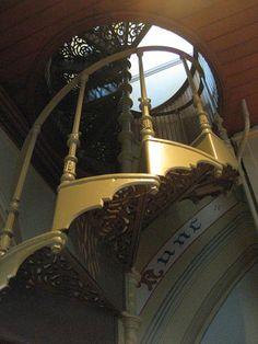 Spiral Staircase to the Organ Gallery of the Children's Chapel of Loreto College - Sturt Street, Ballarat Stair Well, Stairway To Heaven, Spiral Staircase, Stairways, Old School, College, Doors, Mirror, Architecture