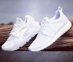 all white nike huaraches and roshes
