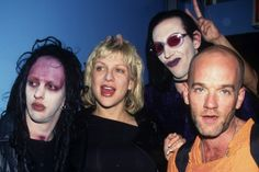 Twiggy Ramirez, Courtney Love, Marilyn Manson and Michael Stipe at Radioheads June 9, 1997 show in NYC / Photo by Getty Images