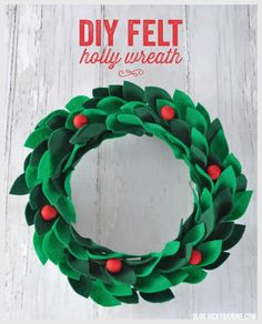 Remember that holly wreath that was peeking out in the Apple Cranberry Sangria post? Well, it is here today to make it's debut! I got this idea from here and decided to make my own. Keep reading to see how you can too! Supplies: a foam wreath form, green felt, scissors, pins, hot glue, and red felted wool balls. Directions: 1. Cut felt into leaves approximately the same size. You can make a stencil to do this, but we just did them free-hand. 2. Fold a leaf in half and stick a pin through…