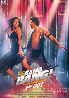 Bang Bang - 2014 Bollywood Action Movie Poster With Hrithik Roshan And Katrina Kaif Dancing Style Bollywood Action Movies, Hindi Bollywood Movies, Bollywood Actress, Hindi Movie, Bollywood Stars, Bollywood Poster, Action Movie Poster, Movie Posters, Katrina Kaif Movies