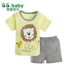 2pcs/set T-shirt Set Baby Clothing Set Summer Style Lion Newborn Baby Boy Girl Clothes Set Short Sleeve Ropa Bebes Suit Menino