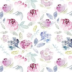 dc6d4b94d4a Colorful fabrics digitally printed by Spoonflower - Watercolour Florals  Vintage Faded Style on White MEDIUM