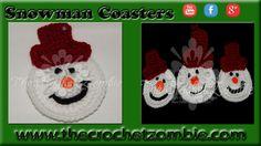 Snowman Coasters (YouTube - The Crochet Zombie)