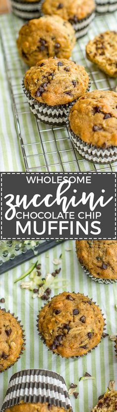 Zucchini chocolate chip muffins made with wholesome ingredients. Perfect for busy mornings, snacks, and encouraging toddlers to eat some green veggies! via @nourishandfete