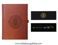 """Air Force One Journal Book & Black Lacquer Presidential Roller Ball Pen Set, Air Force One Seal, Soft Simulated Italian Leather, Terra Cotta, Pen Loop, 150 Bound & Lined Journal Pages, 9"""" x 7"""", Unique Gift or Personal Book. Enter Promo Code """"PIN"""" for 10% off your entire order!"""