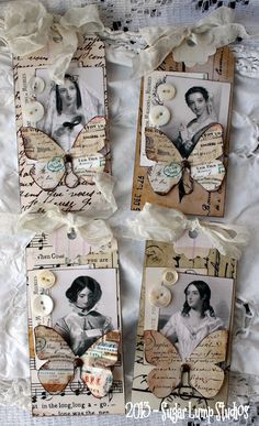 Romantic Flutter HANDMADE Altered Tags, what an interesting project...think vintage or think family photos...I might do this with photos of who the gift is for...