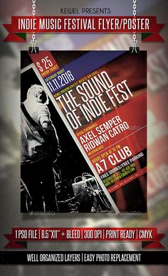 Indie Music Festival Flyer / Template PSD. Download here: http://graphicriver.net/item/indie-music-festival-flyer-templates/14631636?ref=ksioks