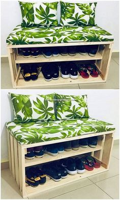 This image will make you show out the idea of the wood pallet seat with shoe rack concept of the design that is so splendid done with the complete coverage of the wood pallet inside it. Here the seat piece has been all composed with the shoe rack portion impact that is so catchier looking on the whole.