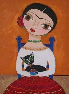 Coffee Time Frida Kahlo Folk Art by Erika Ashley - Coffee Time Frida Kahlo Folk Art Painting - Frida E Diego, Frida Kahlo Diego Rivera, Frida Art, Coffee Art, Coffee Time, Chicano Art, Mexican Folk Art, Naive Art, Illustrations