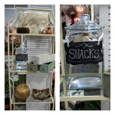 Great small etagere and large glass jar with chalkboard tag.
