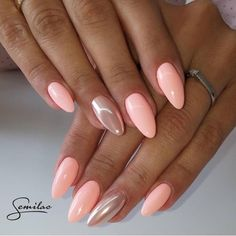 Want some ideas for wedding nail polish designs? This article is a collection of our favorite nail polish designs for your special day. Read for inspiration Pink Gel Nails, Peach Nails, Metallic Nails, Shellac Nails, Stiletto Nails, Nail Polish, Pastel Nails, Coffin Nails, Peach Colored Nails