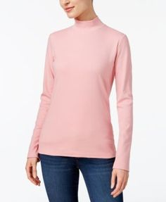 Karen Scott Cotton Mock-Neck Top, Created for Macy's - Purple XXL