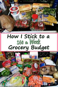 I Stick to a 60 a Week Grocery Budget Do you have trouble with overspending on groceries each week Heres how I stick to a 60 a week grocery budget including frugal recipe. Living On A Budget, Frugal Living Tips, Frugal Tips, Frugal Meals, Frugal Recipes, Aldi Recipes, Dinner Recipes, Debt Free Living, Oven Recipes