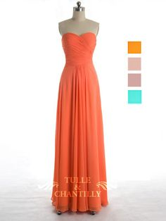 Modest Orange Chiffon Cross Ruched Sweetheart Bridesmaid Dress