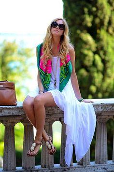 Chiara Ferragni - Hermës Hermes Scarf, Hermës Hermes Kelly Bag - Hermes and long white dress (LB) Little White Dresses, White Maxi Dresses, Summer Dresses, Outfit Summer, Long Dresses, The Blonde Salad, Grace Kelly, Kelly Bag, Looks Style